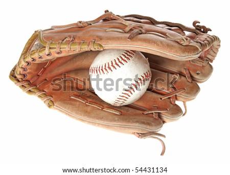 A worn leather baseball glove holding a baseball Royalty-Free Stock Photo #54431134