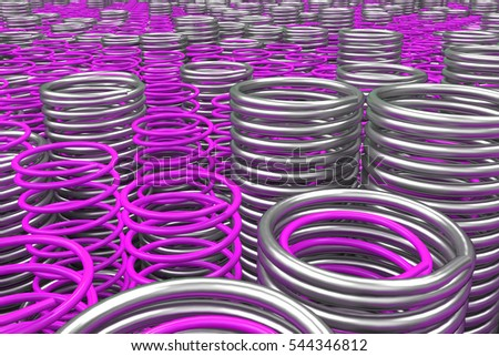 Metal and plastic springs and coils of different radius, abstract background, 3D render illustration #544346812