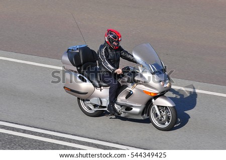 FRANKFURT,GERMANY - MAY 26: motorcyclist on the route on May 26,2016 in Frankfurt, Germany. #544349425