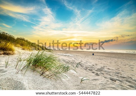 Sand dunes against the sunset light on the beach in northern Poland #544447822