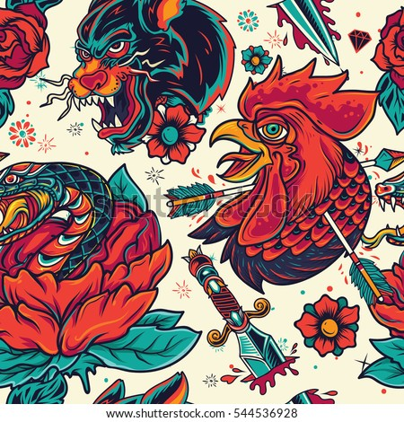 Colorful Old School Tattoo element seamless Pattern Royalty-Free Stock Photo #544536928