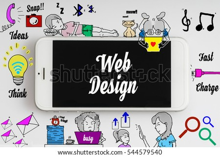 """""""Web design"""" words on smartphone with doodle and social media icon - internet, social, marketing and business concept"""