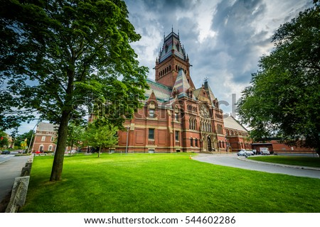 The Harvard Memorial Hall, at Harvard University, in Cambridge, Massachusetts. Royalty-Free Stock Photo #544602286