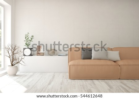 White room with sofa. Scandinavian interior design. 3D illustration #544612648