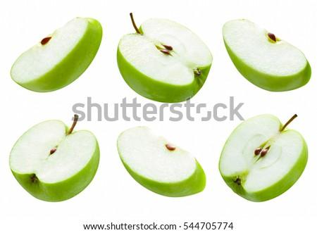 set of slice green apple on white background #544705774