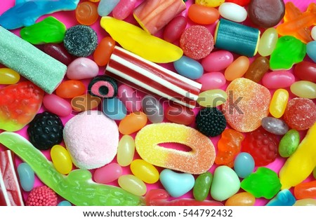 A lot of colorful candy Royalty-Free Stock Photo #544792432