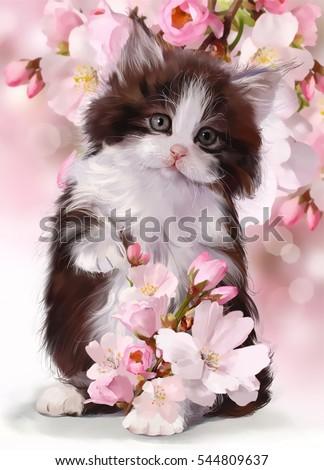 Kitten watercolor illustration
