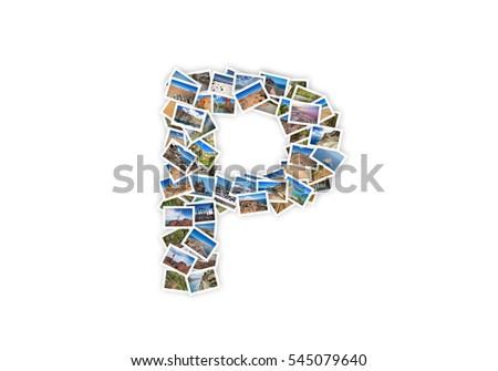 Letter P uppercase font shape alphabet collage made of my best landscape photographs. Version 1.