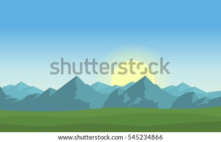 At morning mountain landscape vector #545234866