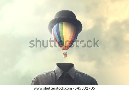 imagination fly abstract minimalist concept Royalty-Free Stock Photo #545332705