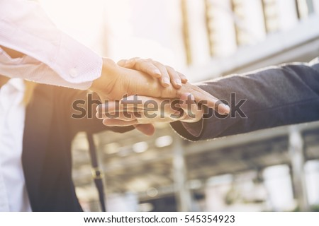 teamwork, friendship, unity, cooperation and gesture concept ,Business People many Handshake Greeting Deal Concept,Business group with hands together - teamwork concepts #545354923