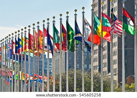 Flags of all nations outside the UN in New York City. Royalty-Free Stock Photo #545605258