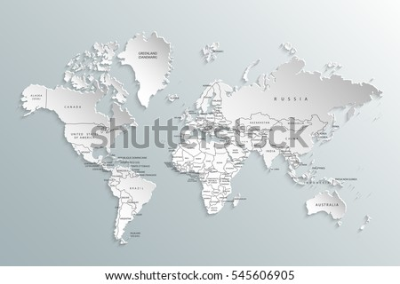 Political map of the world. Gray world map-countries. Vector illustration