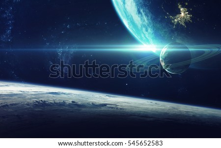 Cosmic art, science fiction wallpaper. Beauty of deep space. Billions of galaxies in the universe. Elements of this image furnished by NASA Royalty-Free Stock Photo #545652583
