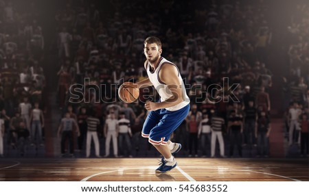 basketball player on professional court arena 3D