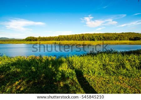 Landscape View of Mae Puem Reservoir, Thailand. #545845210