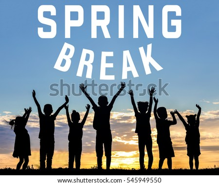 Text SPRING BREAK and children silhouettes on sunset background. Additional education concept #545949550