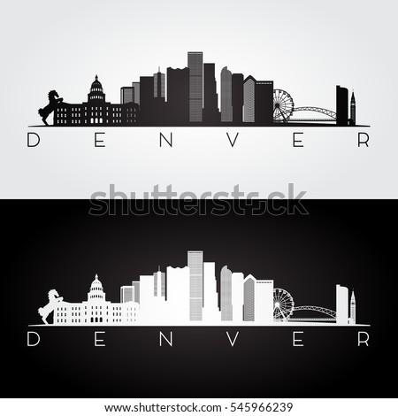 Denver USA skyline and landmarks silhouette, black and white design, vector illustration.
