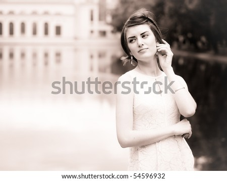 Young model in a city; beauty shoot series #54596932