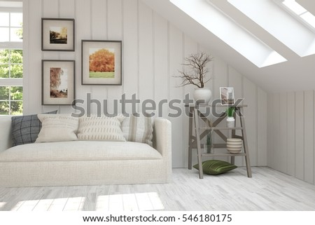 White room with sofa and green landscape in window. Scandinavian interior design. 3D illustration #546180175