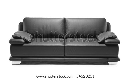 Image of a modern black leather sofa over white background #54620251