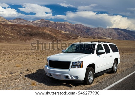 the SUV offroad vehicle at Death Valley #546277930