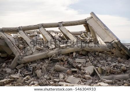 Collapsed concrete building  #546304933
