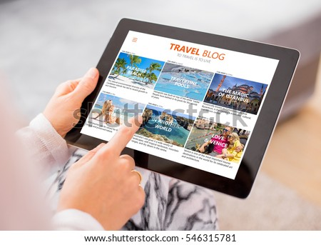 Travel blog on tablet computer #546315781