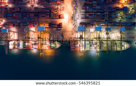 container,container ship in import export and business logistic.By crane ,Trade Port , Shipping.cargo to harbor.Aerial view.Water transport.International.Shell Marine.Top view. #546395821