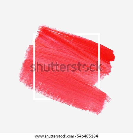 Logo brush painted watercolor background. Art abstract brush paint texture design acrylic stroke over square frame vector illustration. Perfect design for headline and sale banner.  #546405184