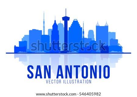 San Antonio Texas (United States) silhouette skyline vector background. Flat trendy illustration.