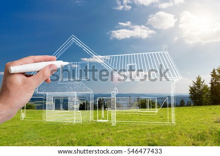 Hand drawing home. Designer concepts. Combination sketching and photo. Royalty-Free Stock Photo #546477433