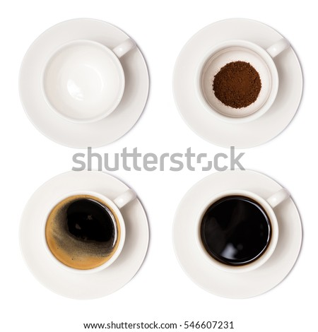 coffee cup assortment top view collection isolated on white background. with clipping paths. #546607231