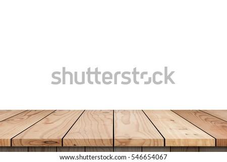 Wood Shelf Table isolated on white background #546654067