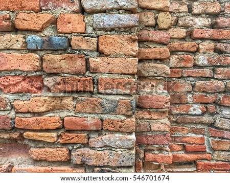 Dimension of ancient brick wall for old style background concept #546701674