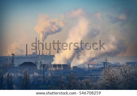 Smoking stack from lignite combined heat and power plant plant (Pilsen). Digital artwork on air pollution and climate change theme. Power and fuel generation in Czech Republic, European Union. #546708259