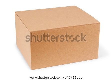 Closed cardboard box taped up and isolated on a white background. #546711823