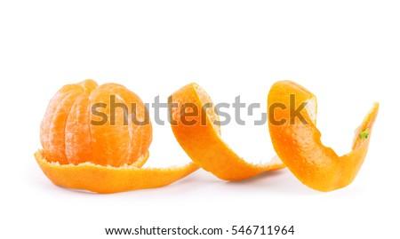 Peel of an orange isolated on white background #546711964