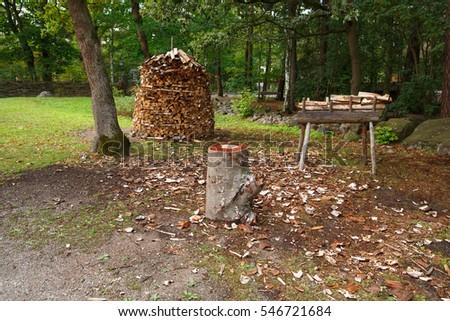 Stack of firewood in village, rural scene. #546721684