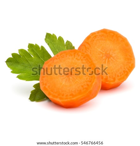 Chopped carrot slices and parsley herb leaves still life isolated on white background cutout #546766456