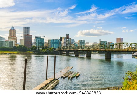 Portland city scape on the day with reflection on the water,Oregon,usa.  for editorial.