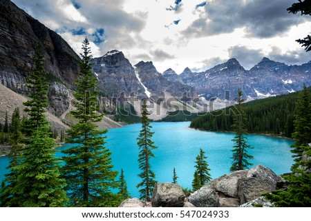 Moraine lake in Banff National Park, Alberta, Canada #547024933