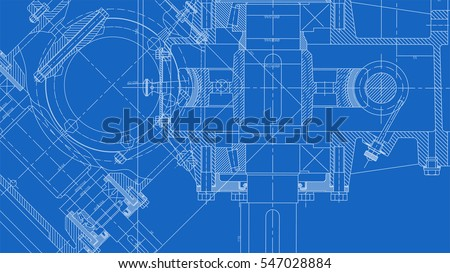 Mechanical Engineering drawing. Engineering Drawing Background. Vector Illustration. Royalty-Free Stock Photo #547028884
