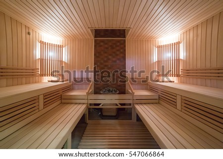 Big sauna with two lights without people #547066864