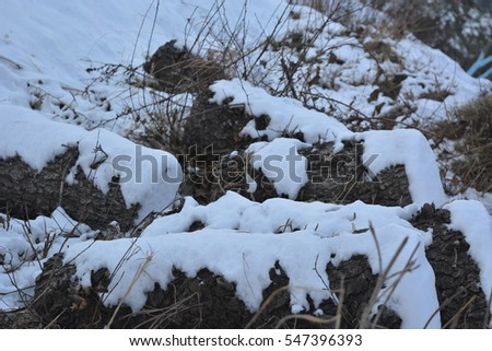 Snow over rocks #547396393