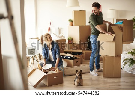 Young couple in new apartment with small dog  Royalty-Free Stock Photo #547444582