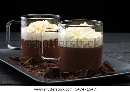 Hot chocolate cocoa with whipped cream on vintage wooden background, selective focus #547471549
