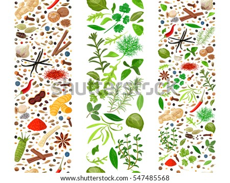 Popular culinary herbs and spices set organized in three ribbons. Cooking seasonings poster. Design for decoration, cosmetics, store, health care products, flyer, banner, wrapping paper, textile #547485568