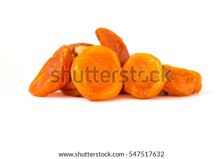 dried apricots on a white background #547517632