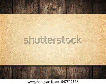 Old Paper Background on Wood Wall, Brown Papers Texture over Dark Wooden Planks, Vintage Frame